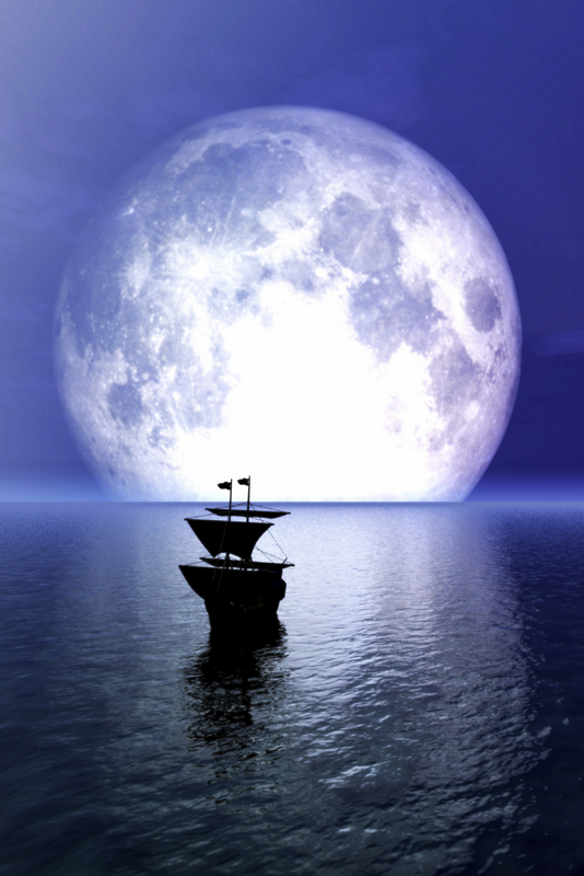 ship sailing into the full moon on the horizon